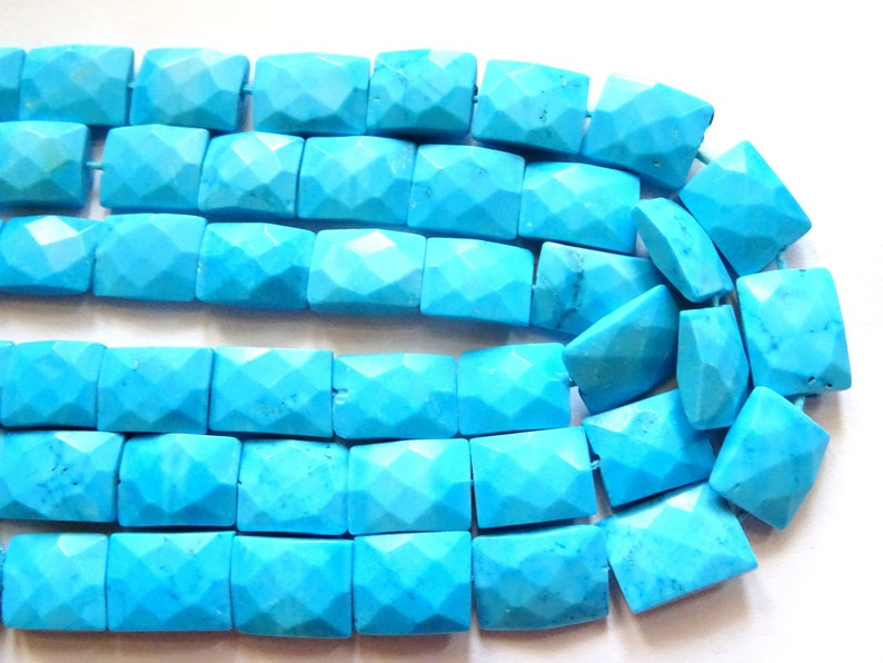 Indian Turquoise Faceted Rectangular Slabs Indian Turquoise Briolette Beads