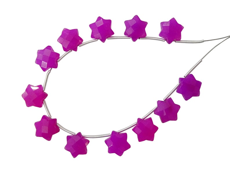 10MM Pink Chalcedony Faceted Fancy Star Shape Briolettes LY53 6 Pieces of Raspberry Pink Chalcedony Faceted 6 Corner Stars