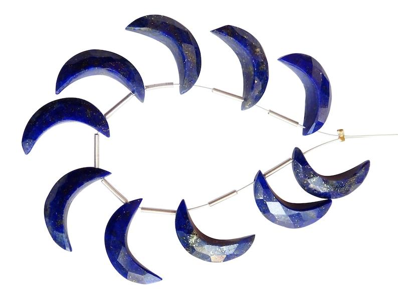 MS17 Lapis Lazuli Crescent Moons Lapis Lazuli Crescent Moon Briolettes AAA Quality Lapis Lazuli Faceted Moons