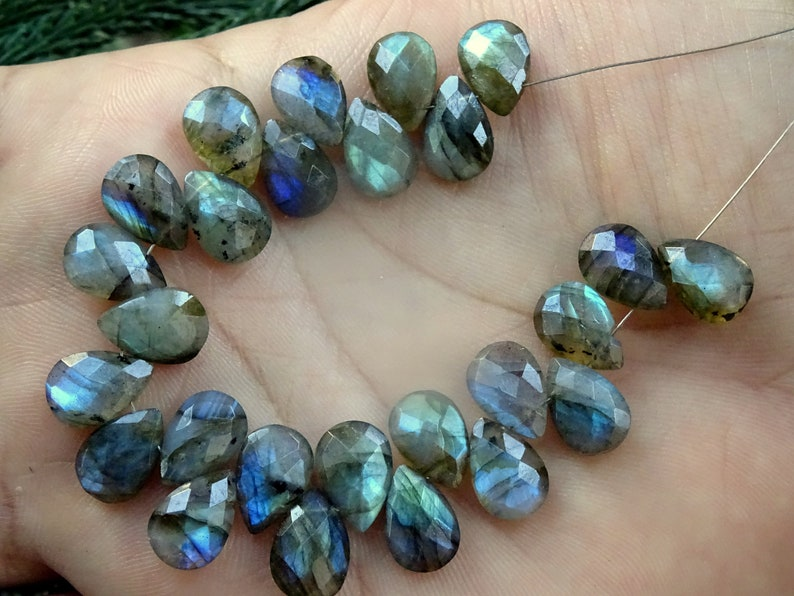 Labradorite Pears Briolettes 8*12mm App. Labradorite Faceted Pears 20 Pieces Bright Flash Labradorite Faceted Pear Briolettes CAB165