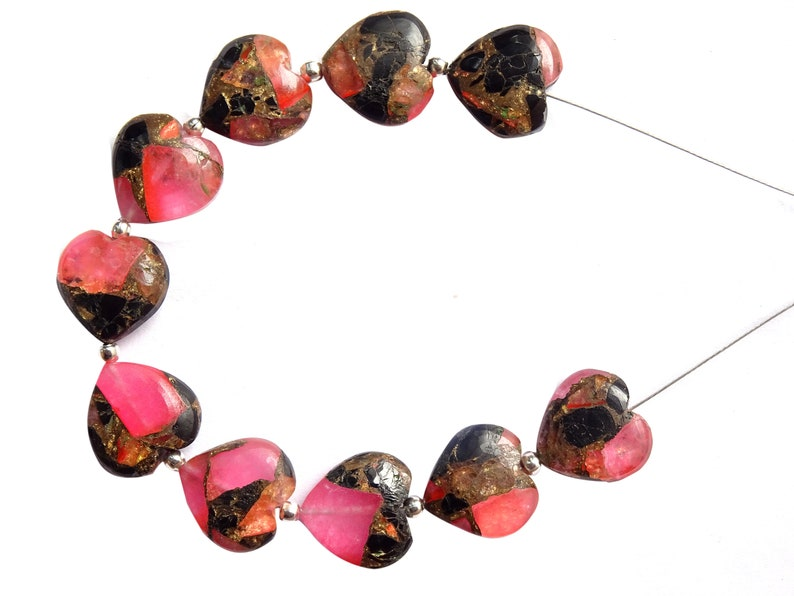 10 Pieces Copper Turquoise Smooth Heart Briolettes EVE171 Copper Turquoise Carved Heart Shape Beads 12mm