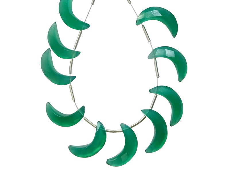 Green Onyx Fancy Briolettes HO47 Green Onyx Crescent Moon Excellent Quality Green Onyx Faceted Moon Briolettes
