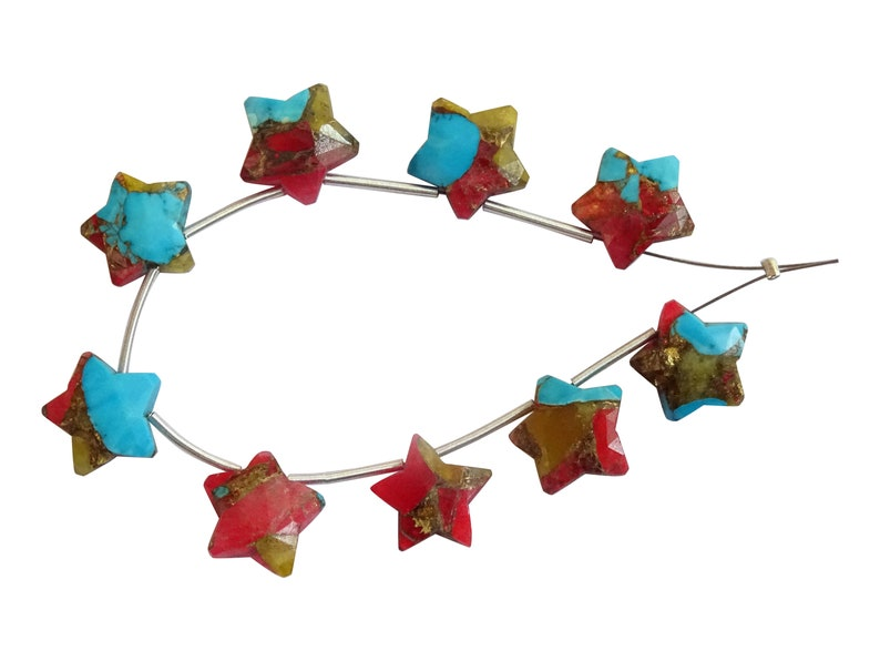 AAA Quality Oyster Copper Turquoise Star Shape Briolettes,Oyster Copper Turquoise Fancy Star Briolettes HO58 Turquoise Carved Star