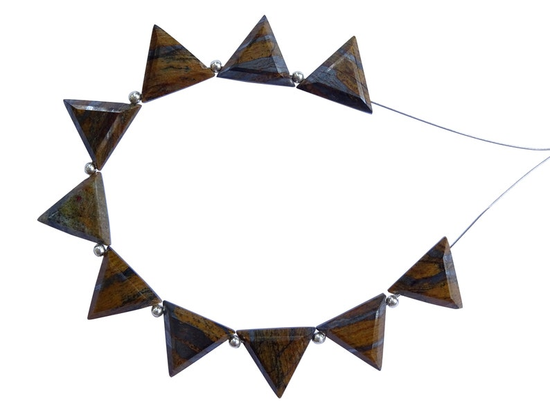 10 Pieces Iron Jasper Faceted Triangle Shape Briolette Beads AB193 Iron Jasper Faceted Fancy Shape Briolettes 13mm
