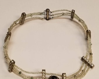 Silver and White Choker