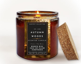AUTUMN WOODS Wood Wick Candles, Decorative Fall Candle With Crackling Wood Wick