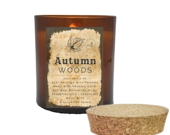 FALL CANDLES, Homemade Candles , Autumn Candles, Autumn Woods Scented Fall Candles with Crackling Wood Wick