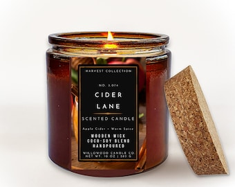 APPLE CIDER CANDLE, Luxury Soy Candle, Amber Jar Apple Cider Spiced With Cinnamon, Cloves And Nutmeg Candle, Coconut Wax Fall Candle