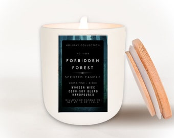BOOK CANDLES | Forbidden Forest Wood Wick Candle Gift for Book Lovers