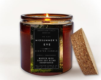 BOOK CANDLES | Midsummer's Eve Wood Wick Candle Gift for Book Lovers