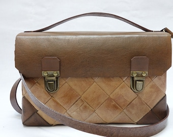 Flap leather SATCHEL