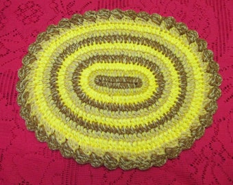 NEW DOLLHOUSE MINIATURE CONCORD ACCESSORY OVAL RAG RUG CARPET GOLD YELLOW BROWN