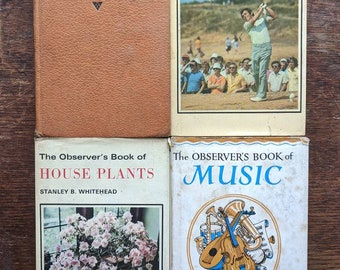 Vintage Observer's Books, fabric covered hardback reference books, Observer books on Architecture, Music, Golf and House Plants, decor books