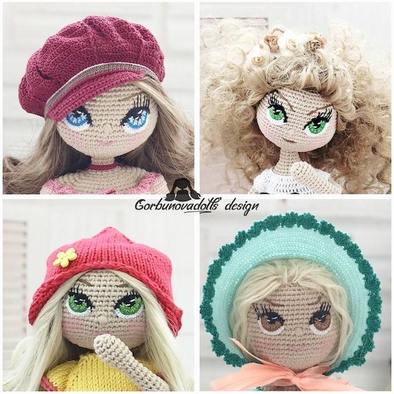 embroidered amigurumi doll eyes - idea   Bonecas de crochê, Boneca ...   570x570