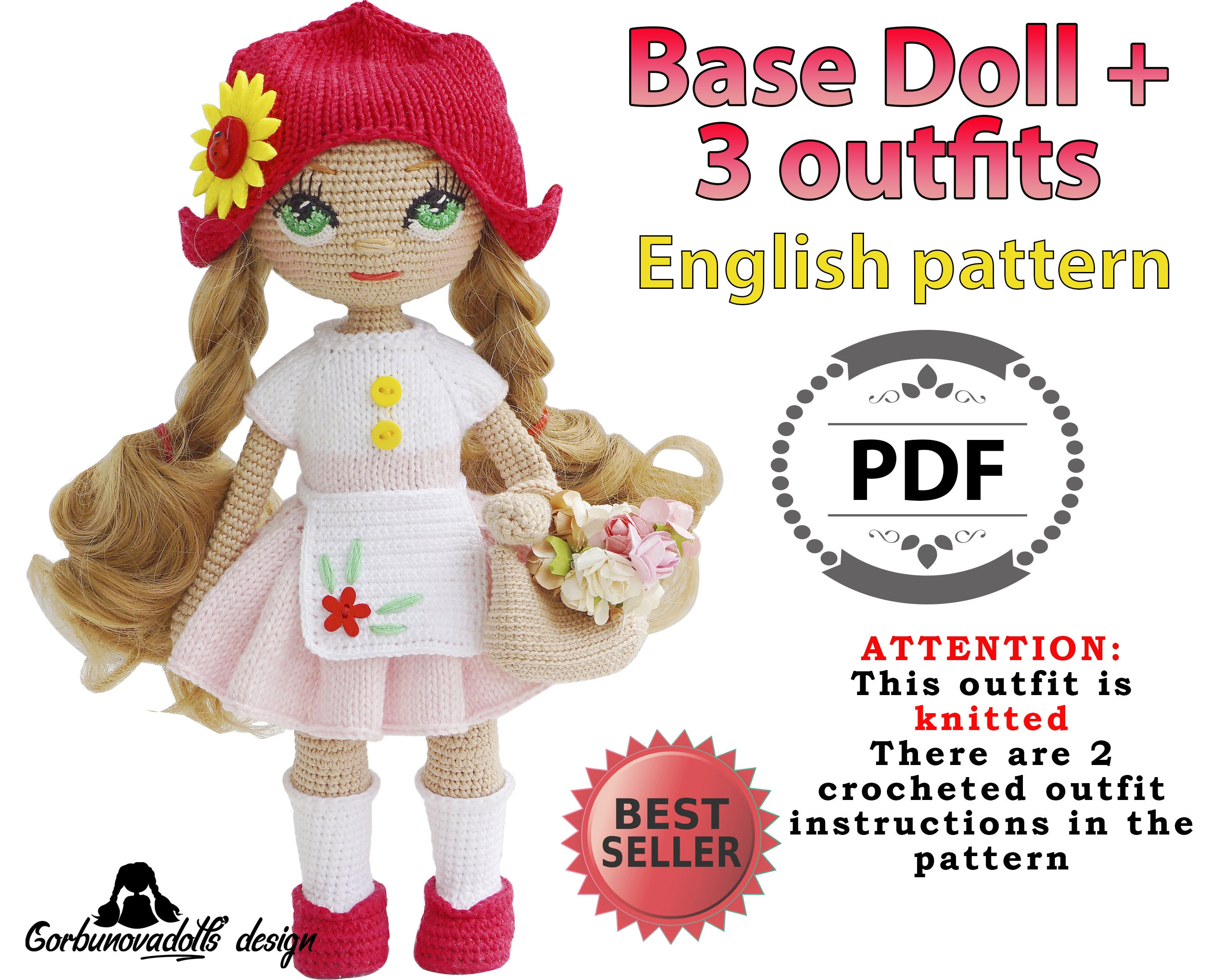 How to crochet pretty dress / Blythe clothes / doll outfit - YouTube | 2270x2800