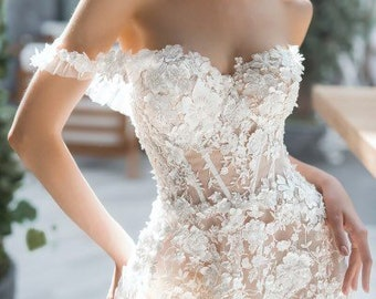 3d lace Elegant boho ivory wedding dress blush white sleeves train  embroidered tulle gown wedding dress bohemian Corset Open Lace Transparen 41eb38a689a