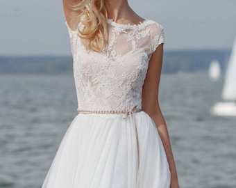 cd23980294e2c Boho wedding dress modern bridal lace boho simple by VanillaWFG