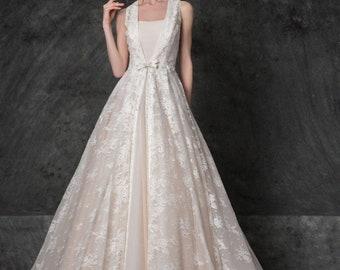 5b637248b16 Ivory lace wedding gown boho wedding gown blush wedding dress v cut back  Custom wedding dress Beach wedding gown bohemian wedding gown 2018
