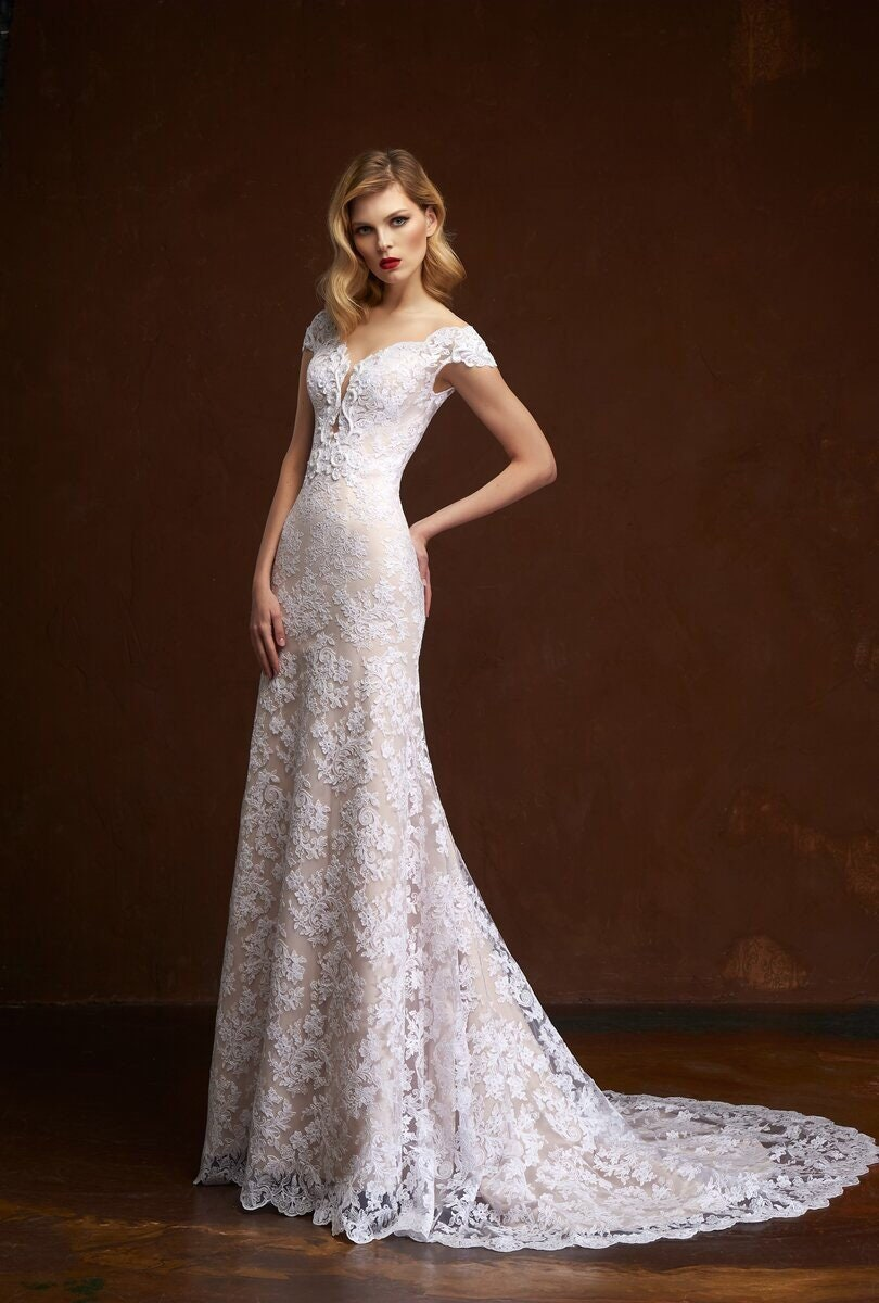 9f17868bf7e Lace mermaid wedding dress ivory blush wedding dress boho