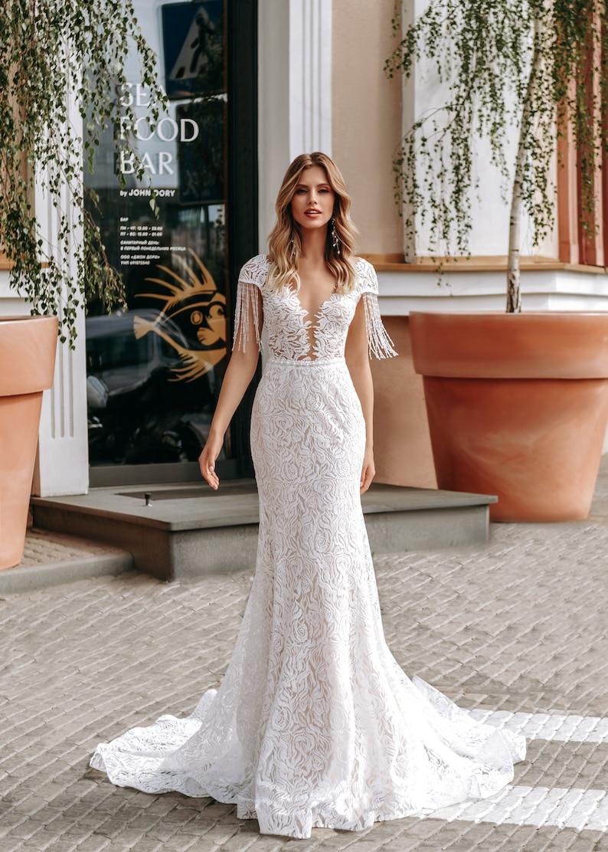 Lace mermaid wedding dress ivory blush wedding boho train sexy image 1