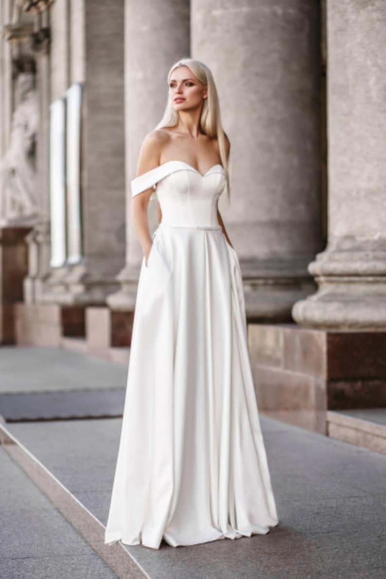 Satin simple modern wedding dress pocket closet lace white | Etsy