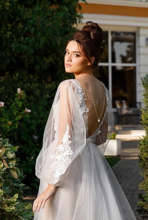 3ac7238adaffcf Elfenbein Armel 3d Spitze Kleid Boho Hochzeit Kleid Elegant Etsy