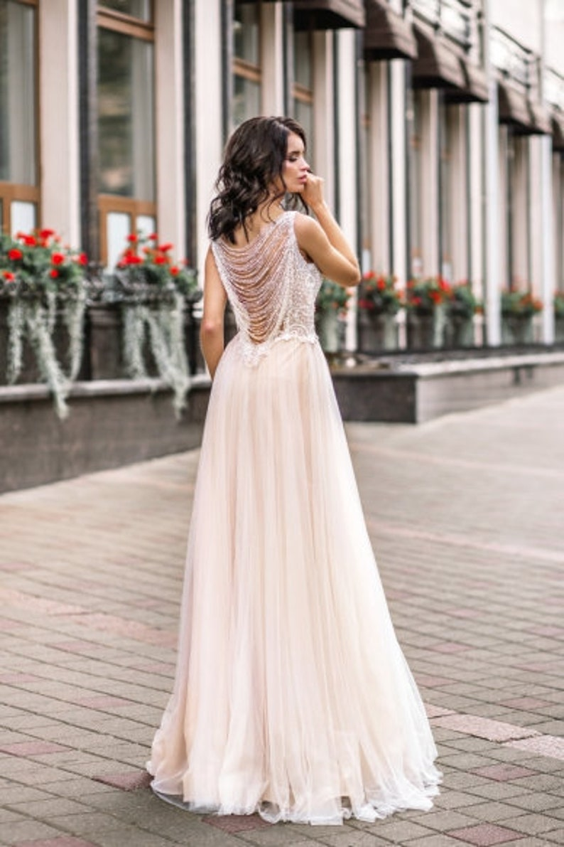 43da70f031 Embroidered lace ivory blush simple modern wedding dress tulle