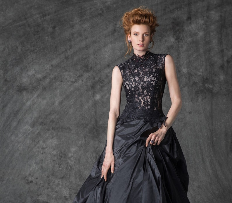 Black Wedding Dress Black Evening Dress Lace Wedding Dress Lace Evening Gown Unique Prom Dress Best Party Elegant Dress Formal Gown Cream