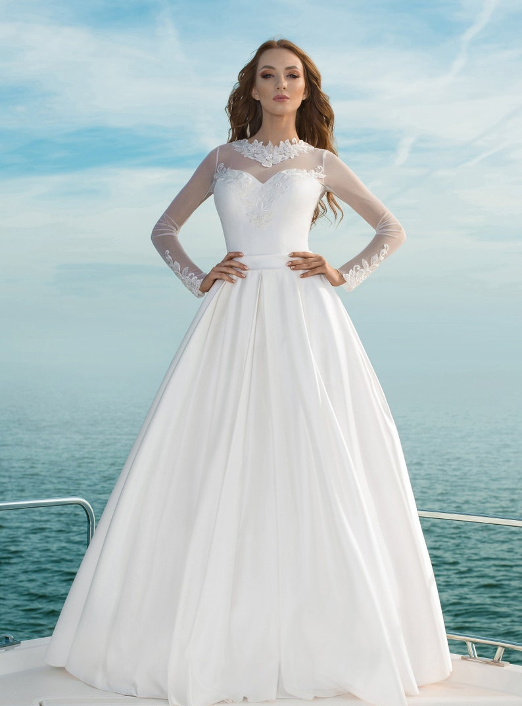 fbce97923980d Long sleeves satin skirt pocket embroidered lace wedding dress | Etsy