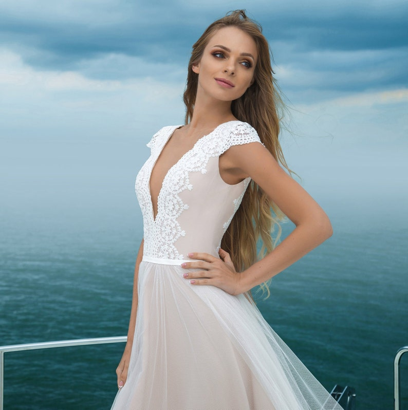 279736fd75ed1 Modern wedding dress boho simple blush satin tulle lace v back   Etsy