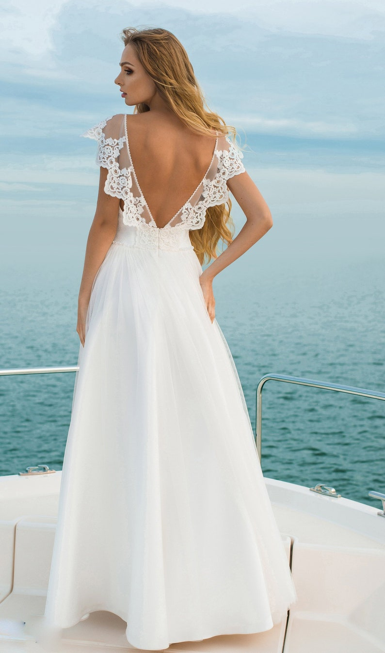 Image 0: Simple Cotton Lace Wedding Dress At Reisefeber.org
