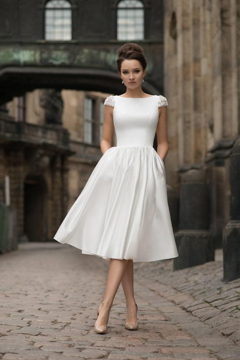 9f82b6416f52c Short midi long wedding dress sleeves satin modern sexy simple | Etsy