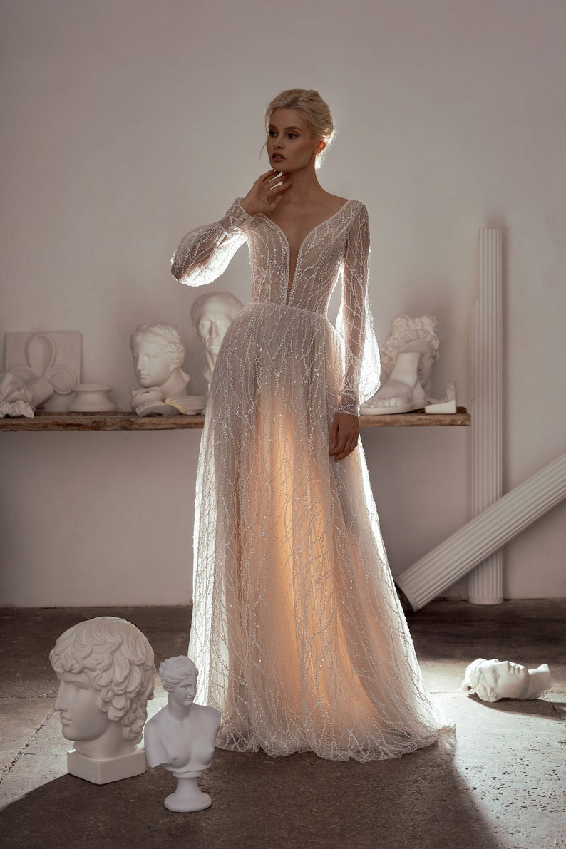 illusion transparent open sexy lace wedding dress long sleeve simple boho shine glitter tulle ivory beach wedding gown bride modern light, Vanilla WFG, Etsy