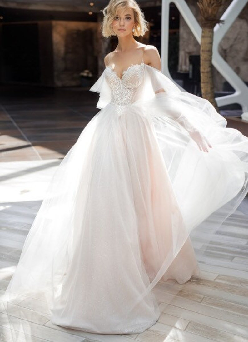 Light blush ivory wedding dress boho glitter shine sexy image 1
