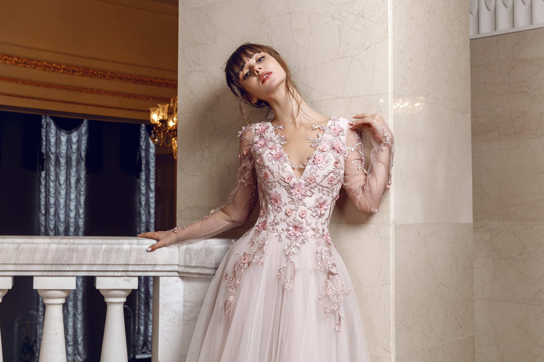 3d Flower Lace Wedding Dress Boho Embroidered Blush Pink Ivory Etsy