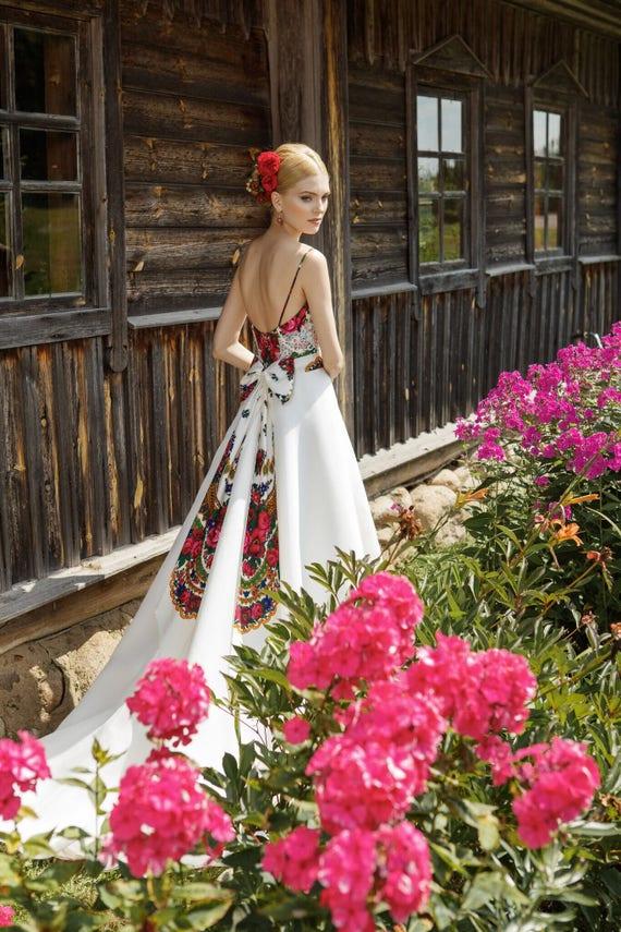 Folk wedding dress folk wedding gown ethnic wedding dress   Etsy