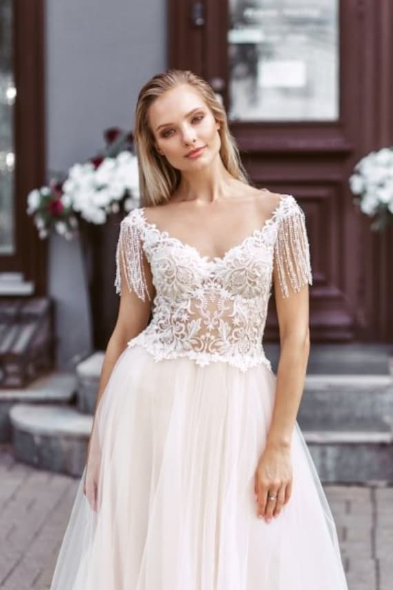embroidered lace ivory blush simple modern wedding dress tulle skirt  elegant boudoir open back plus size wedding gown romantic train classic