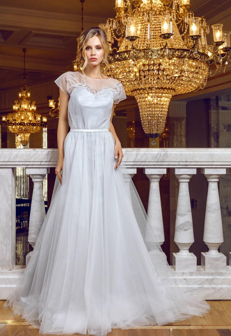 Silver gray wedding dress boho embroidered boudoir light | Etsy