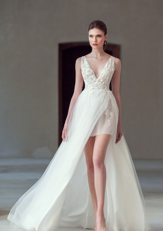 Beach Wedding Gown Tulle Boho Short Wedding Dress Embroidered Etsy
