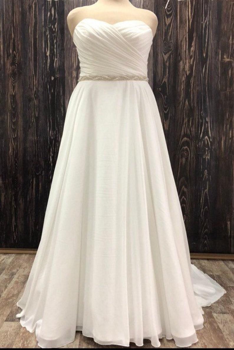 plus size wedding dress chiffon classic ivory white blush embroidered belt  sash modern custom wedding gown elegant infinity plus size train