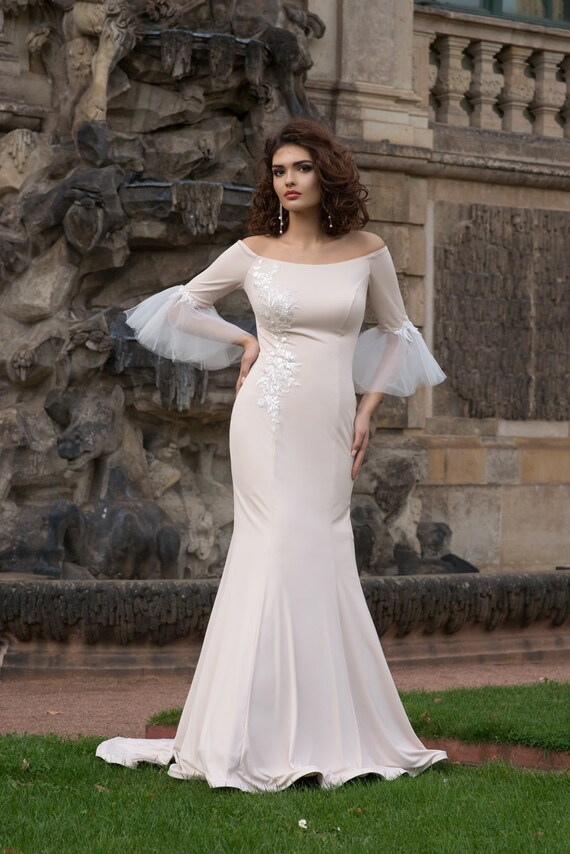 Mermaid Ivory Boho Wedding Dress Simple Minimalism Sleeves Modern Train Elegant Romantic Lace Tulle Classic Sexy Back Wedding Gown Plus Size