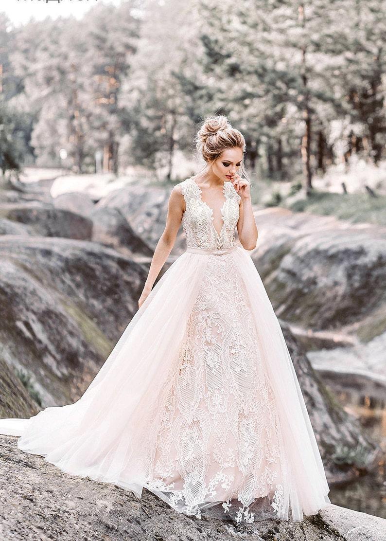 transformer blush ivory wedding dress boho lace elegant tulle light belt  train plus size Transparent Illusion wedding dress Beach bohemian