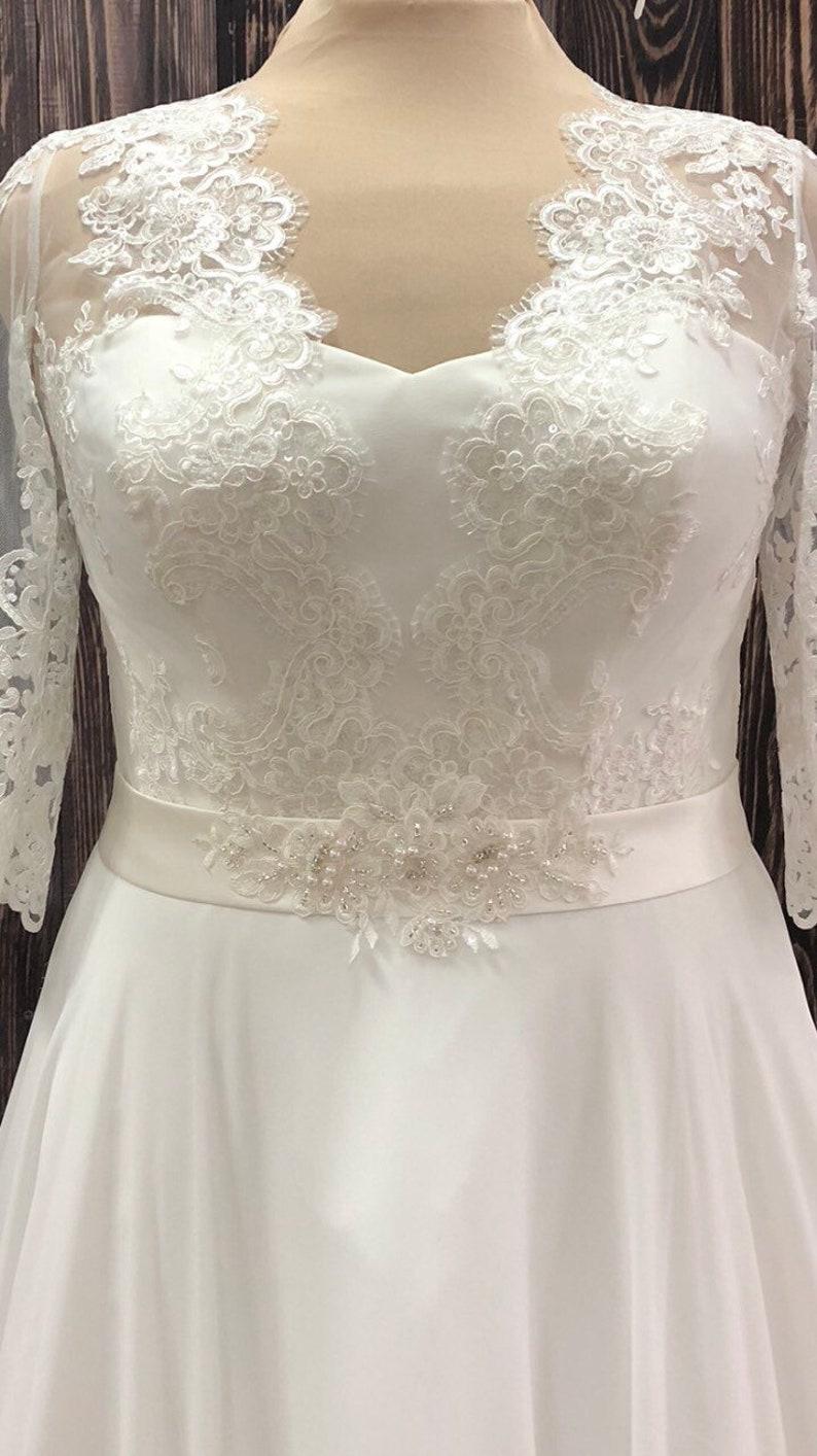 plus size wedding dress sleeves classic ivory boho long sleeves train  modern custom wedding gown classic elegant bohemian vintage infinity