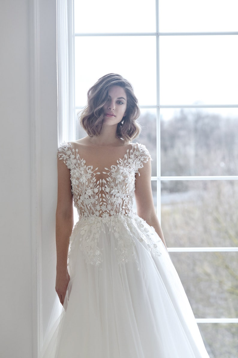 3d boho simple transparent open sexy embroidered lace wedding image 0