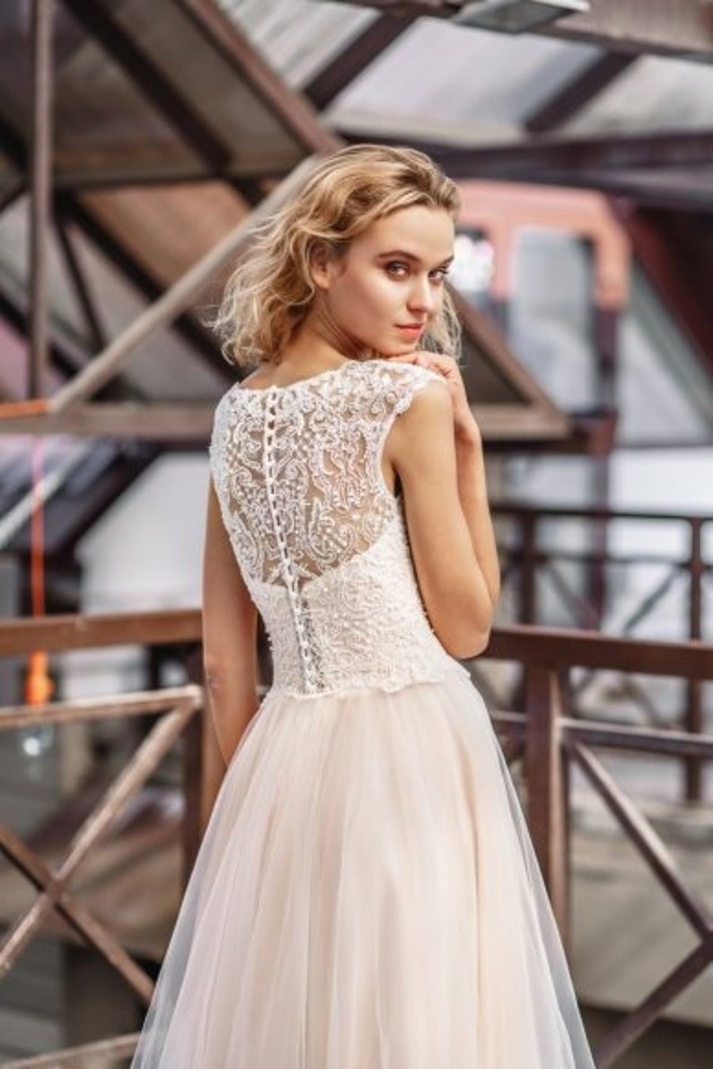 2231e9d4731 Embroidered light lace ivory blush white simple modern wedding