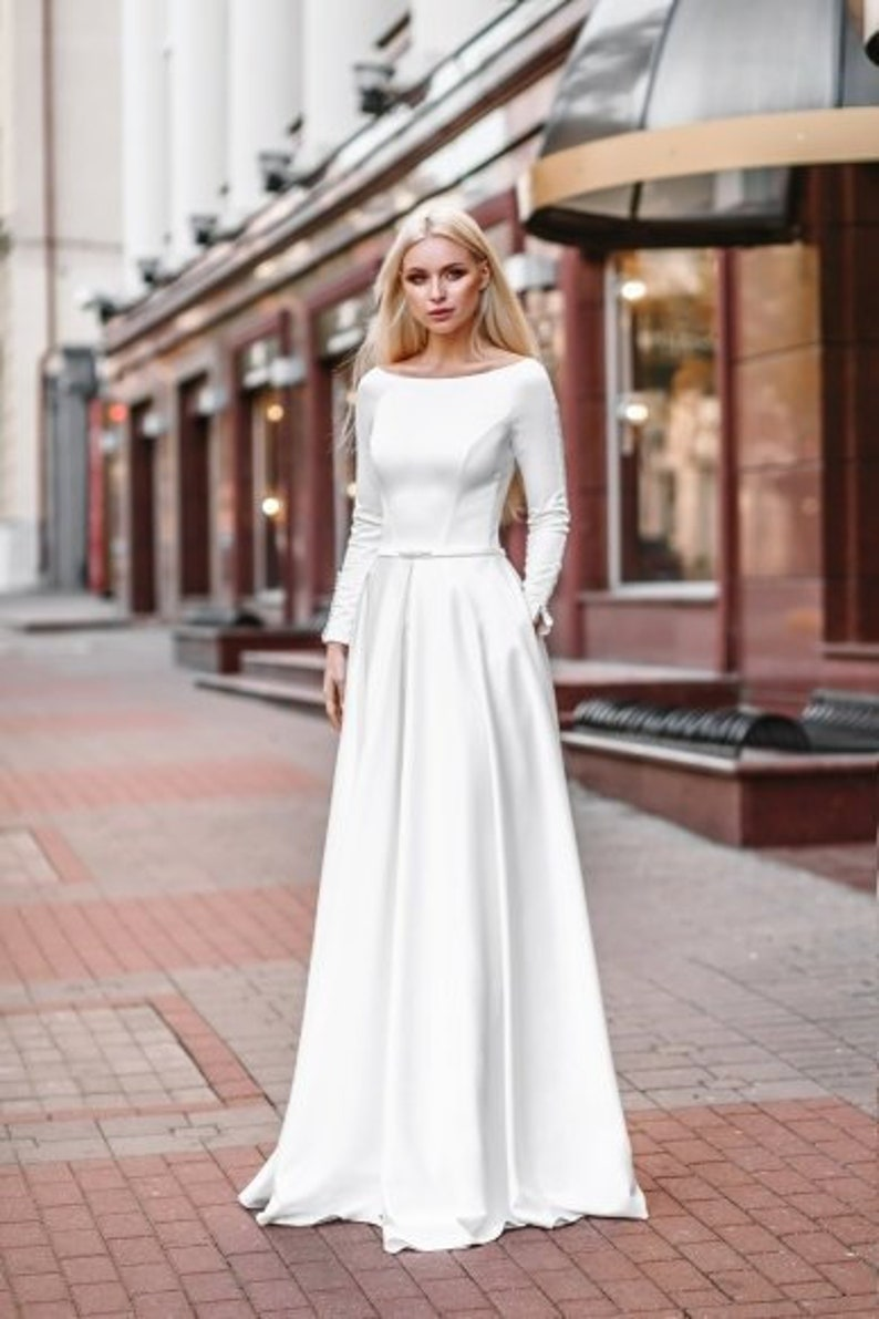 Satin Long Sleeve White Ivory Blush Wedding Dress Boho Pocketfuls Size Simple Classic Bohemian Wedding Gown Unique Elegant Modern Simple