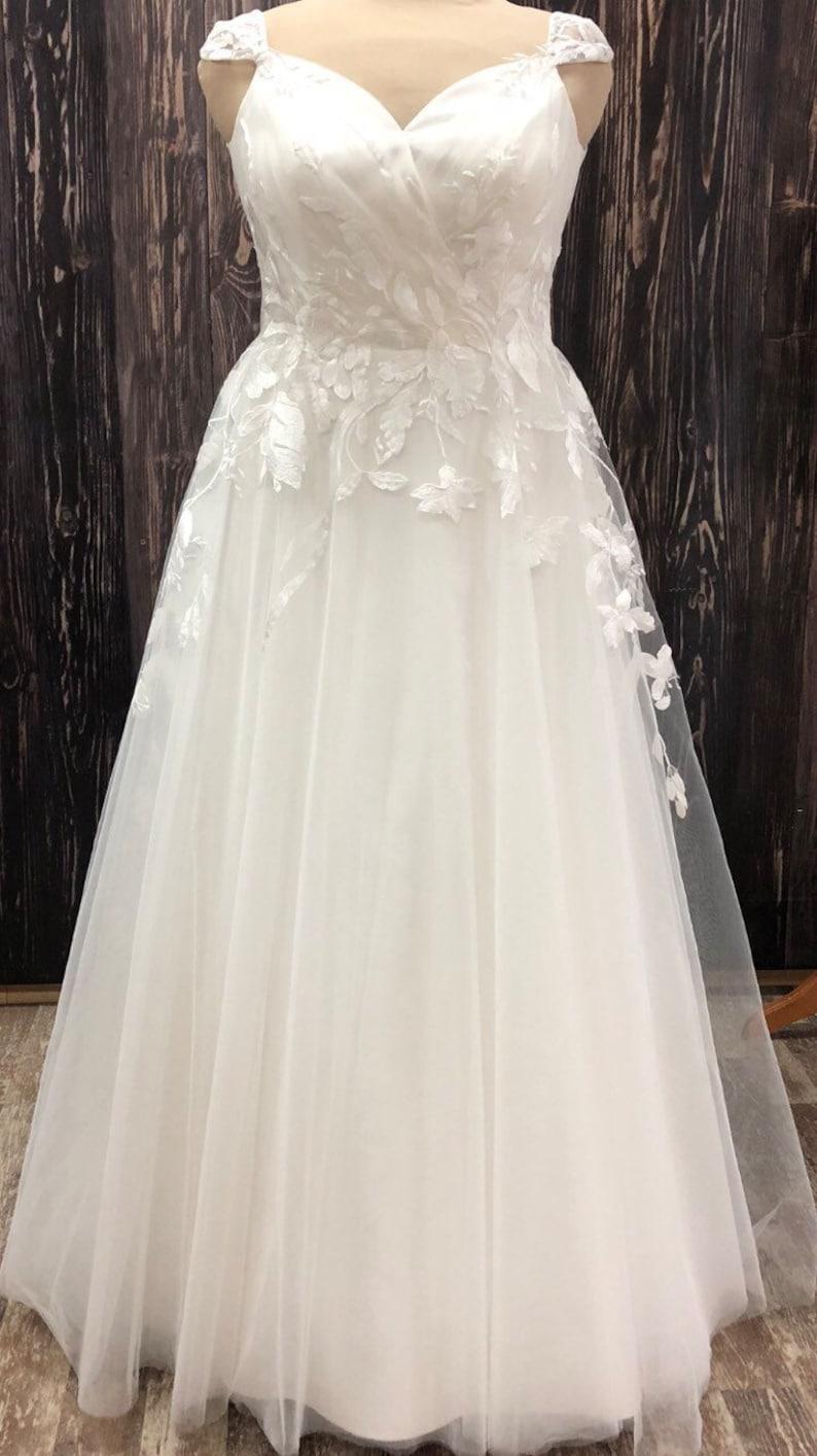 Plus size wedding dress classic ivory boho modern custom size   Etsy