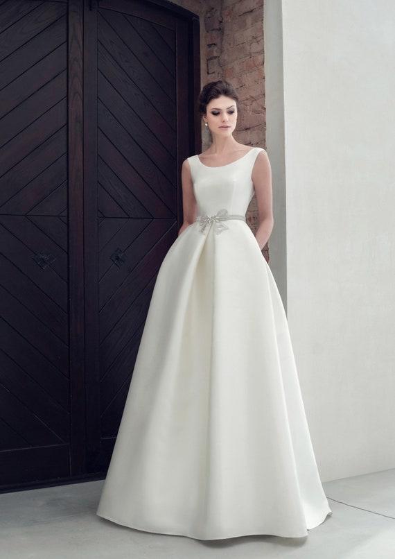 Open Back Wedding Dress Ivory Blush White Wedding Gown Satin Etsy