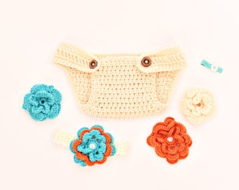Gently Used Crochet Beige Diaper Cover with Flower Headband and Interchangeable Flower Clip for Newborns/Newborn Photography