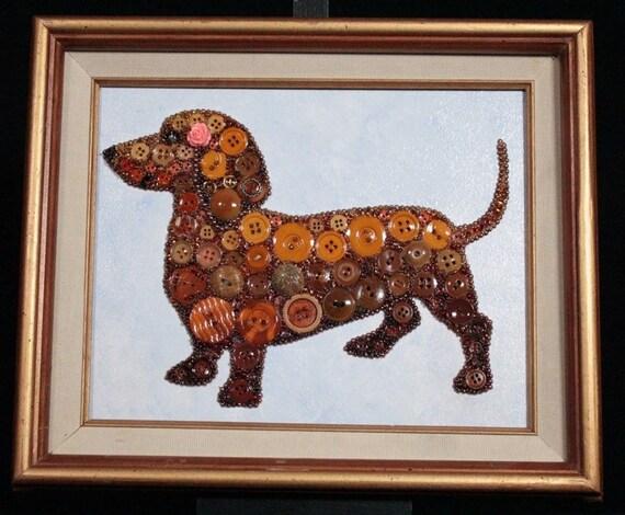 Dachshund button art picture   dachshund mixed media art   dachshund framed art   dog art   dachshund gift
